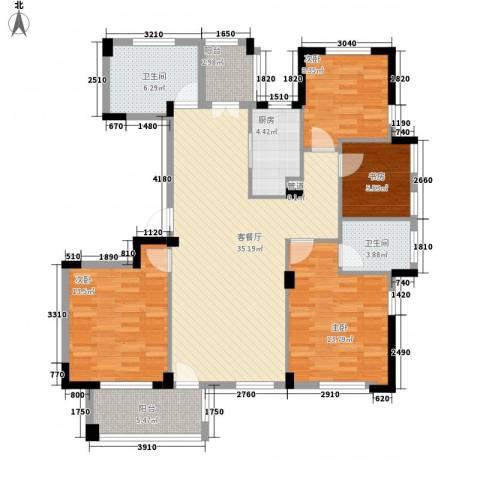 星汇半岛二期4室1厅2卫1厨142.00㎡户型图