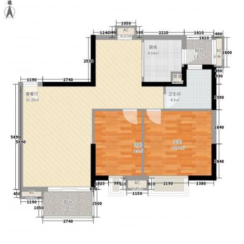 怡和苑2室1厅1卫1厨128.00㎡户型图