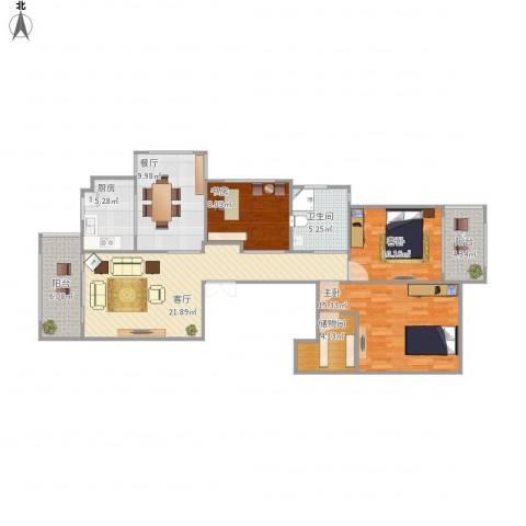 时代尊品3室2厅1卫1厨123.00㎡户型图