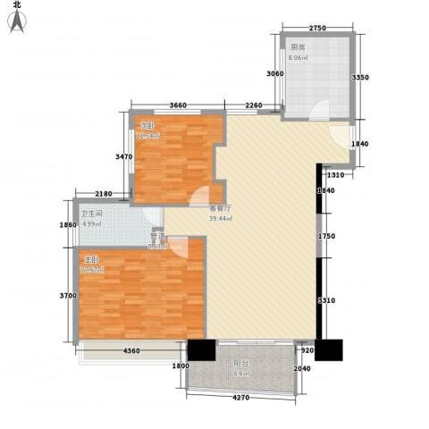 日月光中心伯爵居2室1厅1卫1厨123.00㎡户型图
