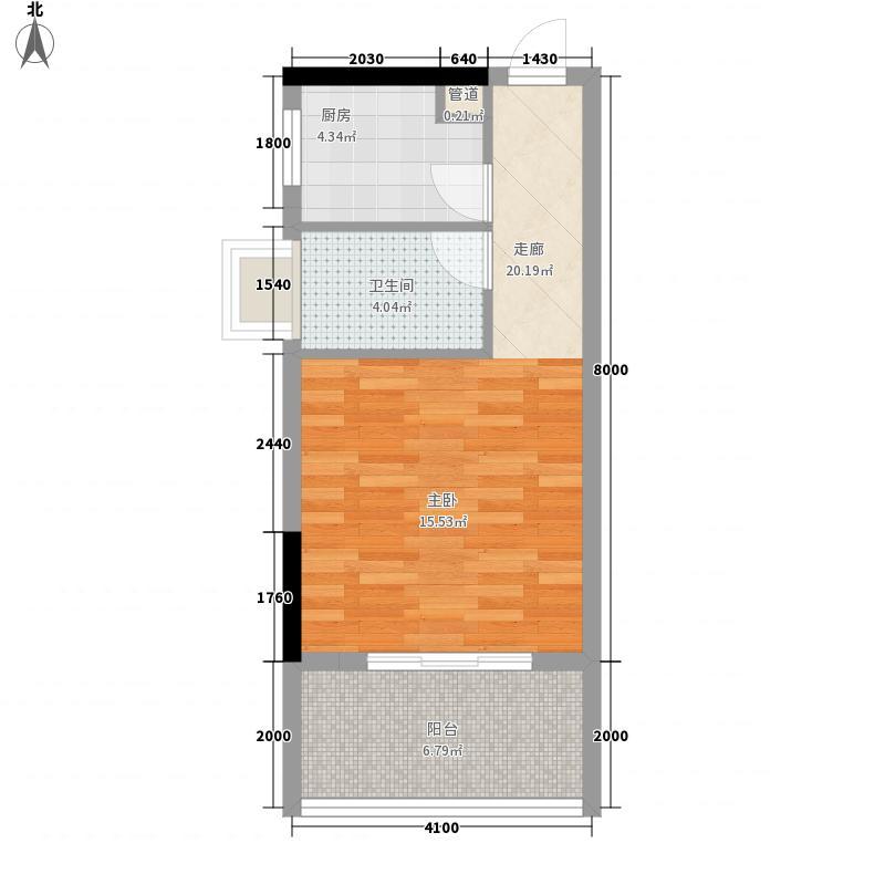 时代名轩45.00㎡时代名轩户型图04座2-17层平面图04单位45m21室1卫1厨户型1室1卫1厨