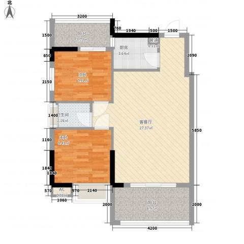时代名轩2室1厅1卫1厨77.00㎡户型图
