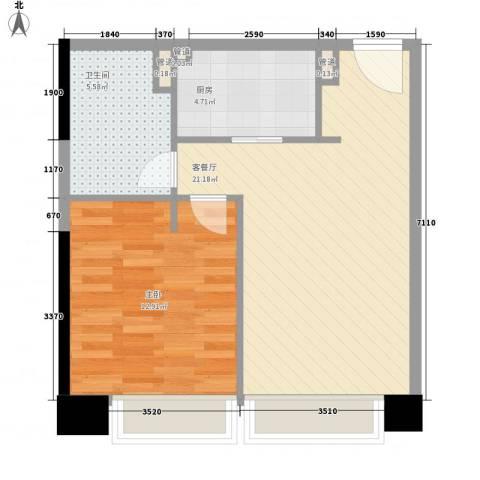 日月光中心伯爵居1室1厅1卫1厨63.00㎡户型图