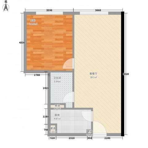 日月光中心伯爵居1室1厅1卫1厨72.00㎡户型图