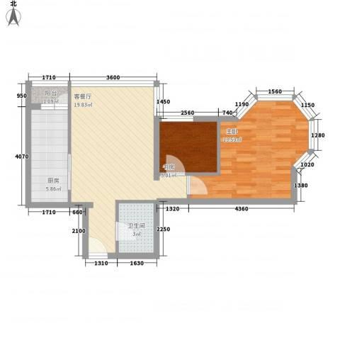 时尚街区东区2室1厅1卫1厨65.00㎡户型图