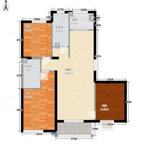 东亚・国际城3室1厅2卫1厨129.00㎡户型图
