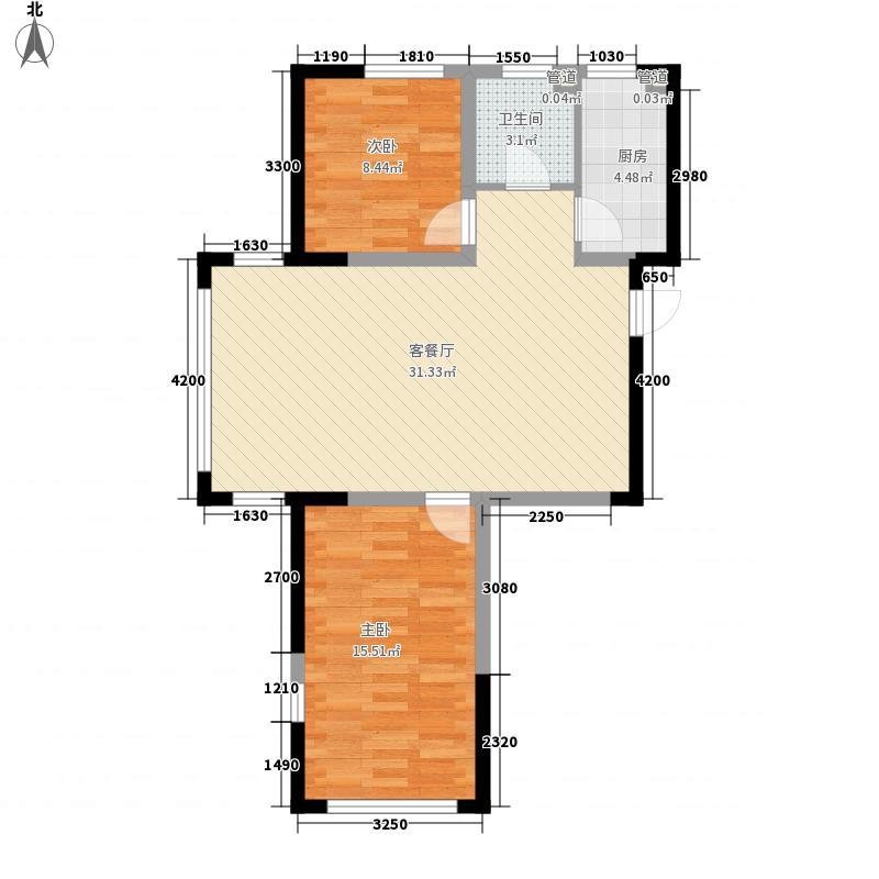 远东海岸华府标准层A户型2室2厅1卫1厨