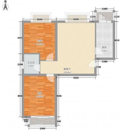 时尚街区东区2室1厅1卫1厨85.00㎡户型图
