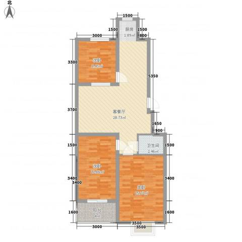 中和盛景3室1厅1卫0厨72.22㎡户型图