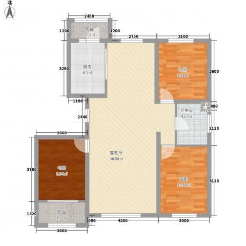 阳光乘风新城3室1厅1卫1厨125.00㎡户型图