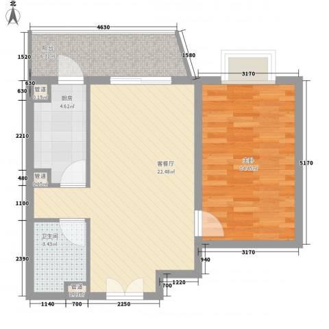 通典铭居1室1厅1卫1厨74.00㎡户型图