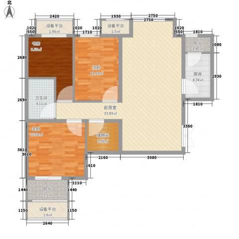 学府・未来城3室0厅1卫1厨131.00㎡户型图