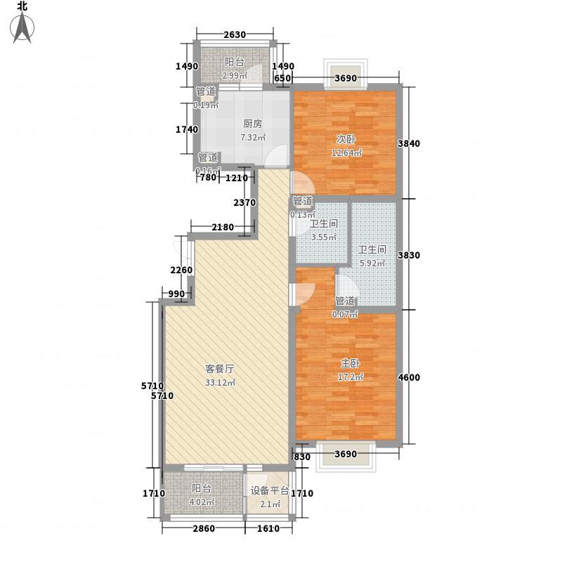 傲城天月园128平米南北向2居室户型2室1厅1卫1厨