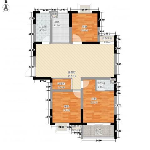 盛世翡翠3室1厅2卫1厨115.00㎡户型图
