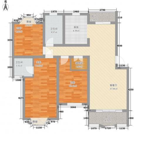 鸿达嘉苑3室1厅2卫0厨132.00㎡户型图