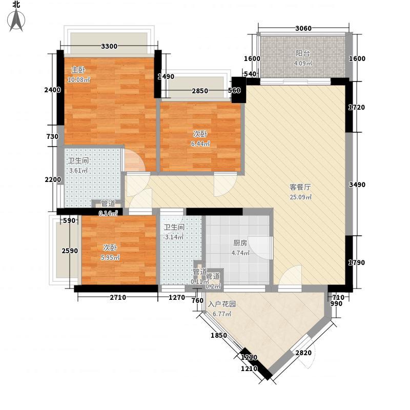 万科金域东郡88.00㎡万科金域东郡户型图A-2奇数层3室2厅2卫1厨户型3室2厅2卫1厨
