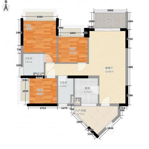 万科金域东郡3室1厅2卫1厨88.00㎡户型图