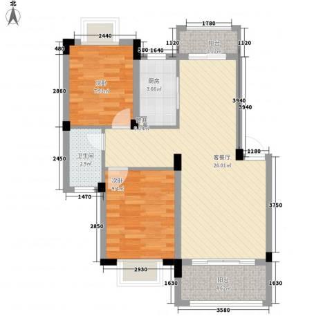 桑海明珠2室1厅1卫1厨82.00㎡户型图