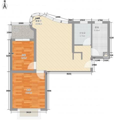 万邦都市花园2室1厅1卫1厨80.00㎡户型图
