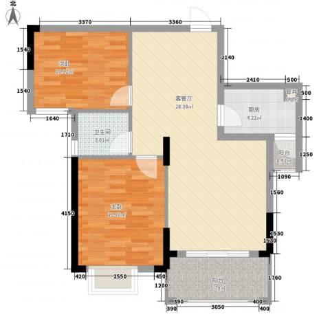 桑海明珠2室1厅1卫1厨93.00㎡户型图