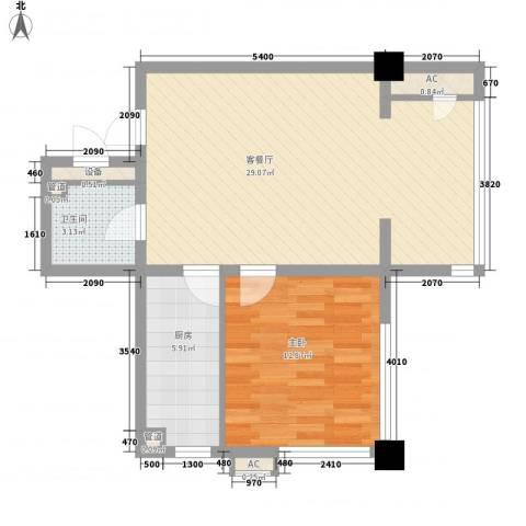曙光大厦1室1厅1卫1厨60.59㎡户型图