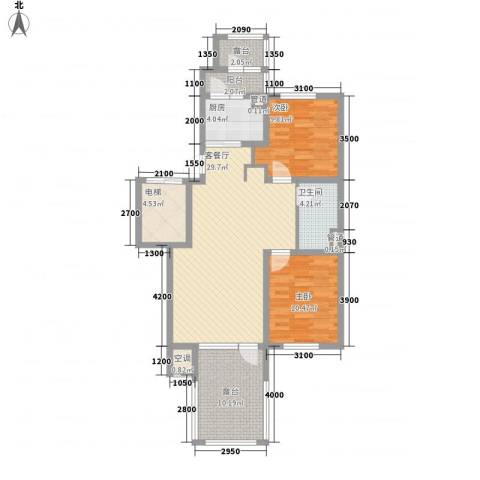 听雨观澜2室1厅1卫1厨95.00㎡户型图