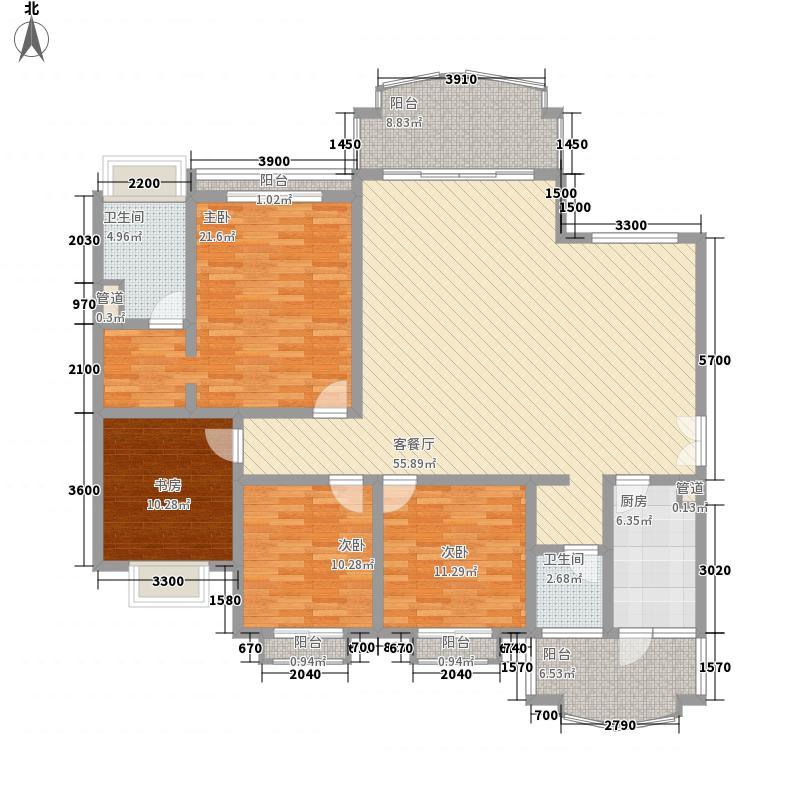 康桥半岛3、5号公馆标准层2户型4室2厅2卫1厨