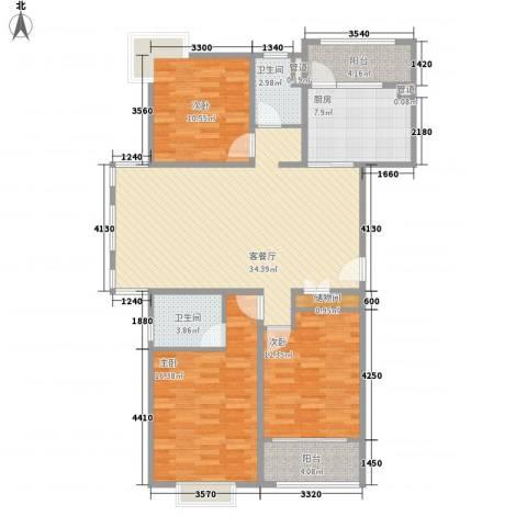 西马庄园3室1厅2卫1厨136.00㎡户型图