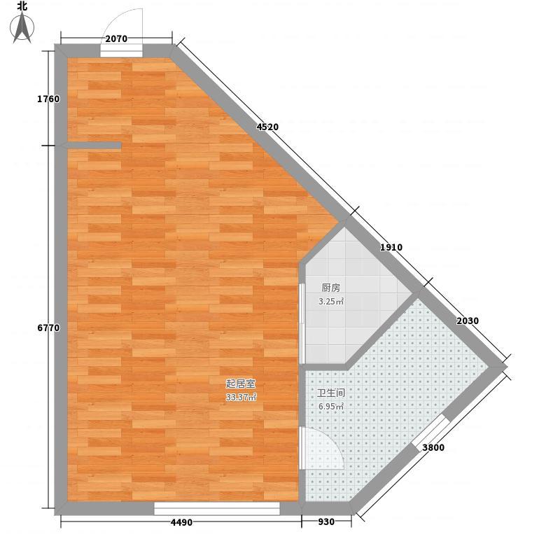 天都国际商务公寓59.79㎡E户型1室1卫