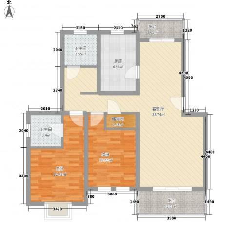 成事高邸2室1厅2卫1厨115.00㎡户型图