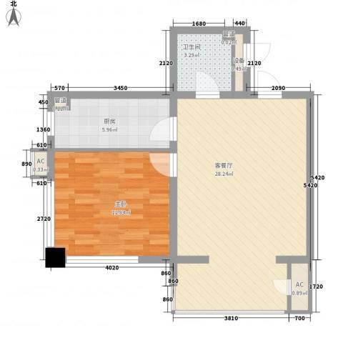 曙光大厦1室1厅1卫1厨59.56㎡户型图