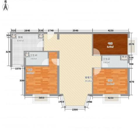 通典铭居3室1厅2卫1厨119.00㎡户型图