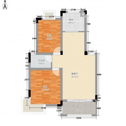 水榭山2室1厅1卫1厨90.00㎡户型图