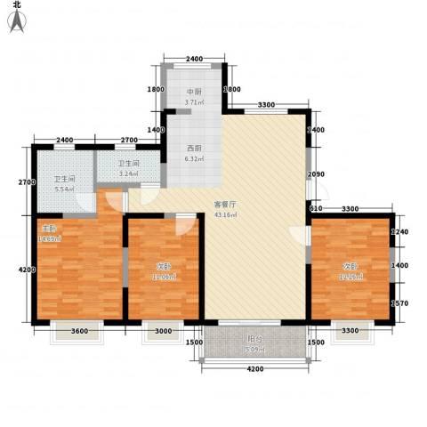蓼花汀花园3室1厅2卫0厨134.00㎡户型图
