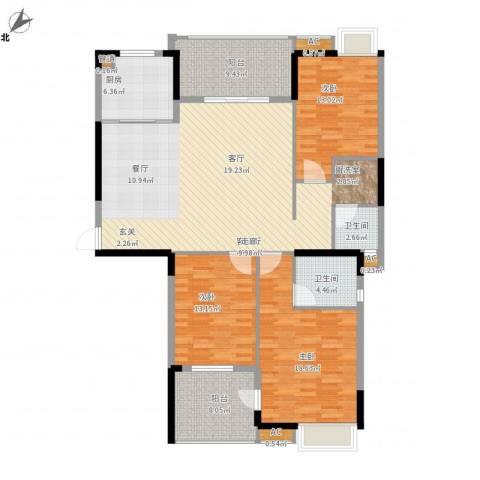秦淮绿洲别墅3室1厅2卫1厨171.00㎡户型图