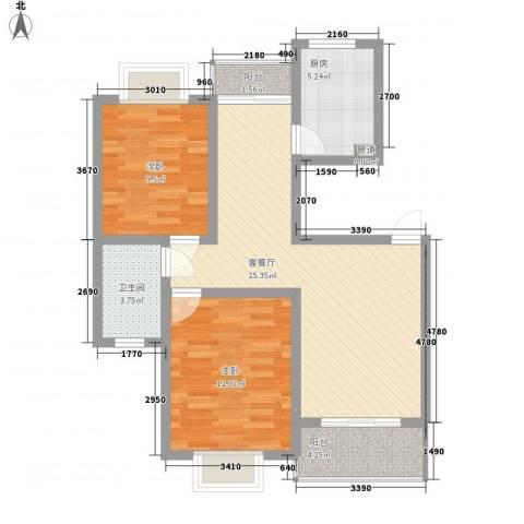 阳光迪金阁2室1厅1卫1厨92.00㎡户型图