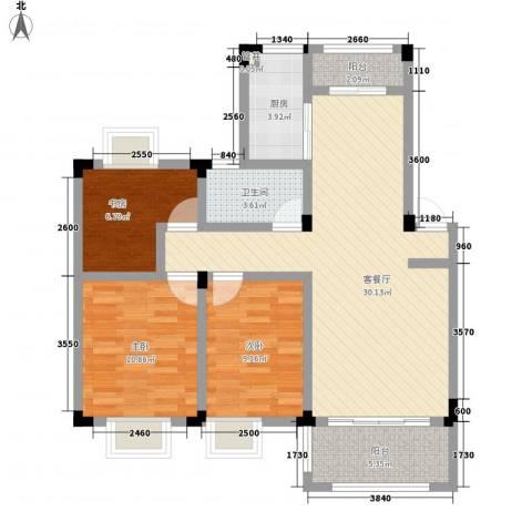 水榭山3室1厅1卫1厨106.00㎡户型图