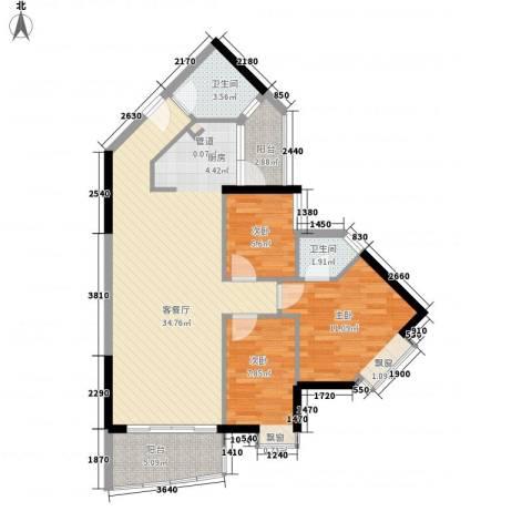 江南苑3室1厅2卫0厨82.00㎡户型图