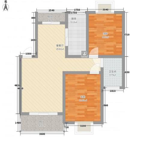 阳光迪金阁2室1厅1卫1厨91.00㎡户型图