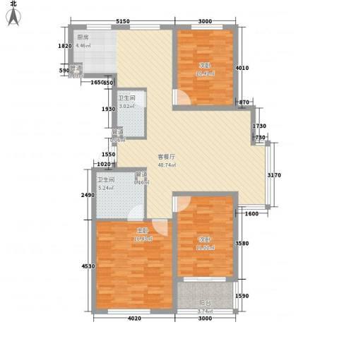 御品星城3室1厅2卫0厨118.00㎡户型图