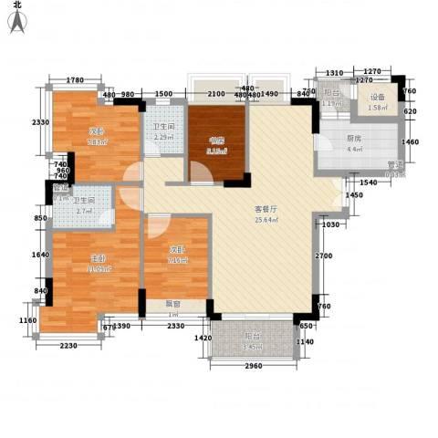 东泰花园丰华苑4室1厅2卫1厨105.00㎡户型图