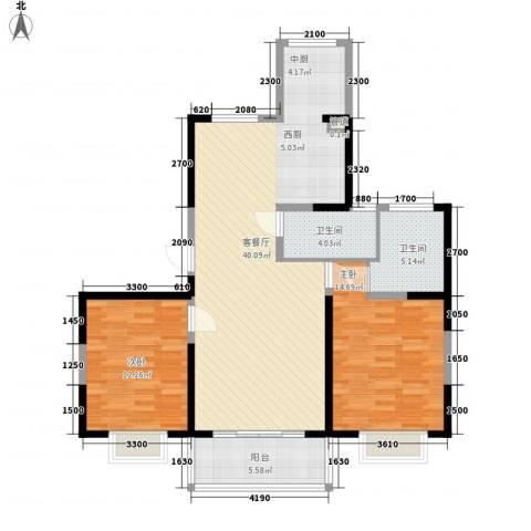 蓼花汀花园2室1厅2卫0厨115.00㎡户型图