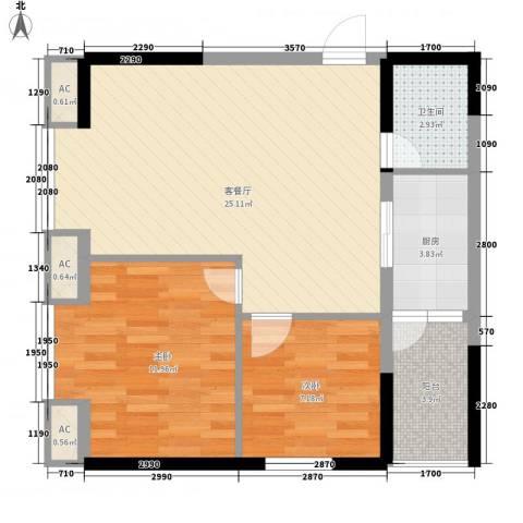 兰溪小区2室1厅1卫1厨81.00㎡户型图
