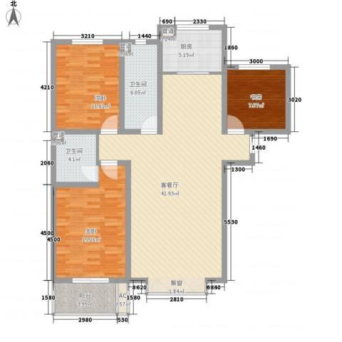 东泰花园丰华苑3室1厅2卫1厨100.00㎡户型图
