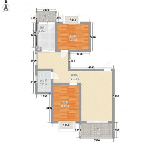 阳光迪金阁2室1厅1卫1厨93.00㎡户型图
