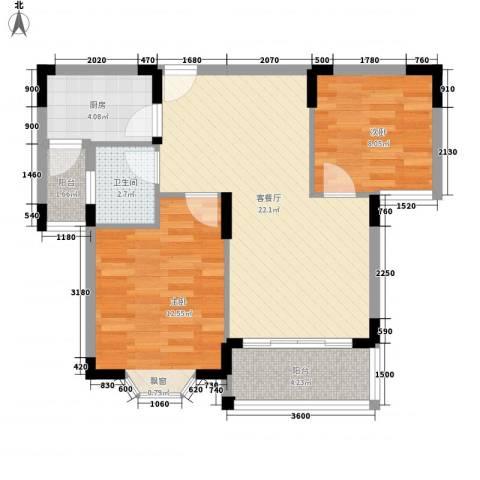旺园小区2室1厅1卫1厨79.00㎡户型图