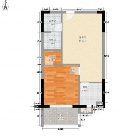 广博苑1室1厅1卫1厨63.00㎡户型图