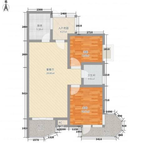 中铁人才家园2室1厅1卫1厨74.35㎡户型图