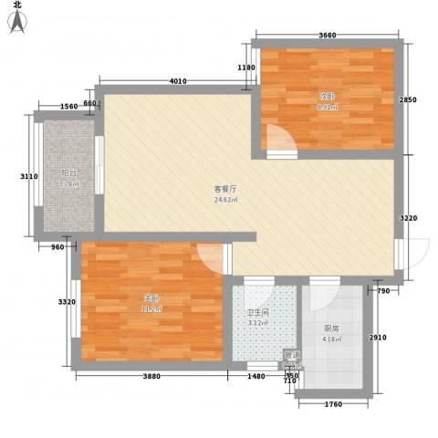 诚德盛世原著2室1厅1卫1厨81.00㎡户型图