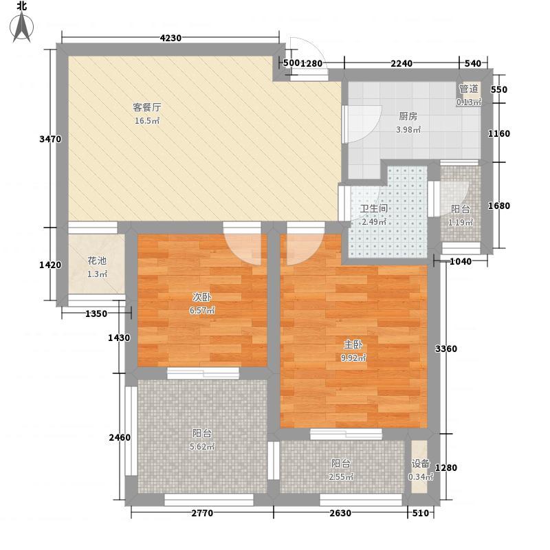 银城聚泽园76.00㎡二期04栋标准层d4户型2室2厅1卫1厨